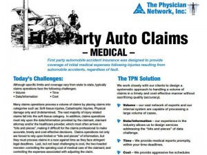 TPN_Lierature: First Party Auto Medical Claims
